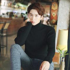 男士高领毛衣秋冬套头毛衫厚款针织衫韩版修身潮流纯色青年打底衫 黑色 S