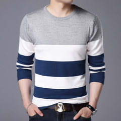 2017 autumn and winter new style young men`s sweater, Korean version, round neck sweater, slim knit  [806] grey m