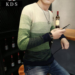 18 age season men sweater sets round collar han edition of men`s loose men`s sweaters render unlined green m