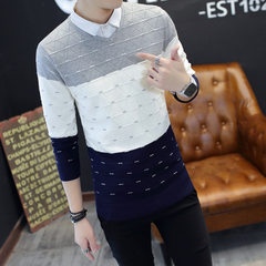 The new style men`s sweater in autumn 2017, the v-neck pullover, the young sweater, the shirt collar gray m