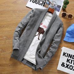 男士秋季新款中长款毛衣男式 修身纯色毛衫开衫青年精品男装潮流 灰色 M