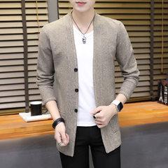 冬装新款男式加厚风衣男士中长款保暖外套男装韩版毛衣夹克衫青年 卡其色 M