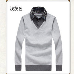 2017 autumn new style men`s fake two shirt collar sweater Korean version slim men`s sweater men`s we gray m