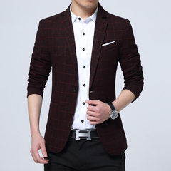 2017 new men`s plaid small suit Korean version slim suit men`s business casual western jacket hair red m