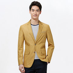 Goldberg`s spring 2017 men`s solid color Korean version of the slim gentleman`s suit jacket 1N004A d HWXAD1N004A medium yellow 170/88 a (46 a)