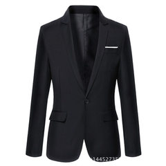 The new spring 2018 men`s casual suit is slim and slim, while the Korean version is fashionable 302 black 165 / M
