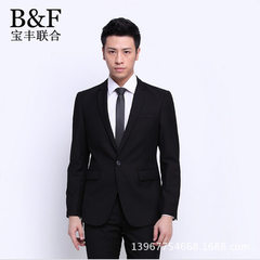Factory direct selling men`s suits is the Korean version of slim suit jacket a button casual small s black 72/48 (S)