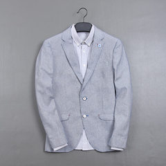 Hailan season home men`s single western style pure color trim simple linen leisure suit men`s wear b blue 165-165.
