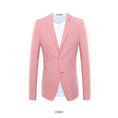Slim suit men`s plaid suit with pink stripes The picture color 46 a (a) 170/88