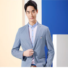 Brand clipping marks the season of the sea LAN men slim suit spring new style single west comfortabl Light blue 170-190.