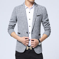 Autumn men`s casual suit men`s Korean version slender young suit jacket men`s western style fashiona gray m
