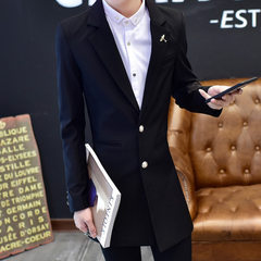 Spring new men`s suit 2018 south Korean version of the trend in the long suit men`s youth slim body  black m
