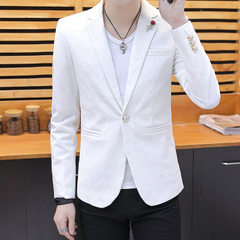 Spring new style small suit men`s Korean version of the trend slim western handsome men`s casual sui white m