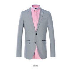 The new men`s classic one-thousand-bird suit with grey stripes in the suit jacket The picture color 46 a (a) 170/88