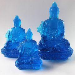 Large and medium sized glass Buddha xianzong glass pharmacist Buddha guangzhou glass Buddha factory  blue
