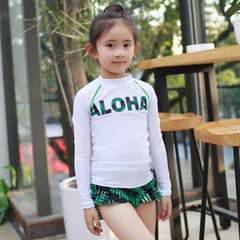 2017 new children`s swimsuit children`s bikini three-piece beach sunscreen long-sleeve children`s sw white m