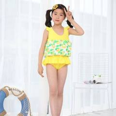 The new children`s floating swimsuit can be disassembled girls` body training swimsuit hot spring fa The yellow lace pattern is random Average size of 3 to 8 years old
