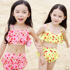2016 new xiqi children`s swimsuit lovely split children`s swimsuit children`s bikini pink s.