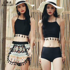 2017 new style fashionable folk style women`s split swimsuit high waist fringed skirt print three-pi black xl