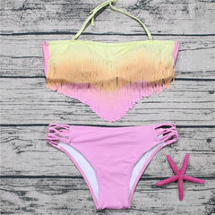 2018 swimsuit new style, European and American style, color-changing print, woven rope swimsuit, bik pink s.