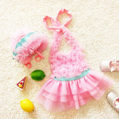 Children`s swimsuit 2018 children`s swimsuit baby Korean version of skirt style swimsuit girls` love pink s.