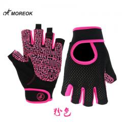 Silicone anti-skid half finger fitness gloves dumbbells lift iron spinning equipment supplies short  Dark pink s.