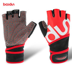 Bolton sports wrist gloves breathable wear-resistant anti-skid equipment training gloves half finger red s.