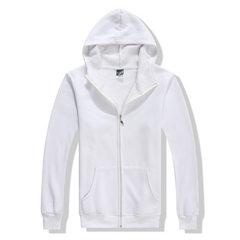 棒球服企业活动卫衣定制工作服加绒新款拉链开衫广告帽衫班服绣字 白色 S