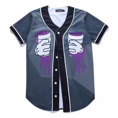 2018男装亚马逊爆款欧美街头风3D印花青年短袖棒球衫上衣男开衫 图片是 M