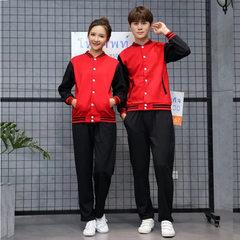 棒球服卫衣批发工作服班服情侣装外套定制LOGO棒球衫运动 红色+黑袖 S