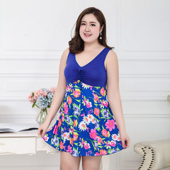 2018 new style fat MM large size female skirt type one-piece swimsuit 200 jin can wear conservative  Sapphire - chrysanthemum Average size (140-200 kg)