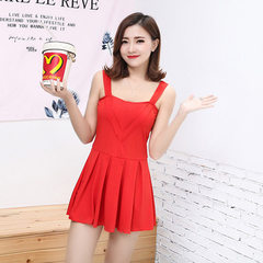 New style women`s skirt style swimsuit in 2018 solid color flat-angle trousers show a thin, conserva red Average size (85-130 kg)