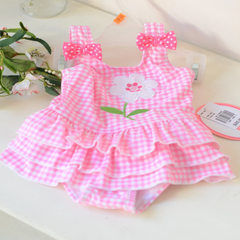 Hot style children`s swimsuit small medium and large children`s baby girl pink plaid skirt sweet one Pink checked embroidered connection 1/2