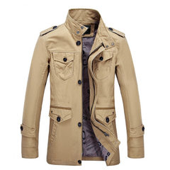 Direct selling foreign trade men`s wear new spring men`s casual jacket in the long loose cotton larg khaki XXXL