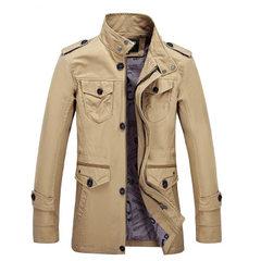 直销外贸男装新款春季男式休闲夹克中长款宽松纯棉大码风衣男外套 卡其色 XXXL