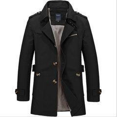 秋冬新款男士中长款纯棉水洗夹克 休闲修身外套 大码风衣男 黑色 M