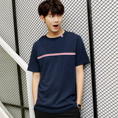 Men`s wear a commission wholesale new cotton T-shirt men`s short sleeve T-shirt half sleeve basic ma Navy 283 m