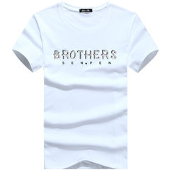Cotton men`s t-shirts, short sleeve t-shirts, printed men`s wear, summer youth, increase the supply  white m