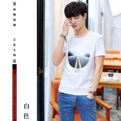 2018夏季新款男装 青少年纯棉圆领修身T恤男短袖小清新GT印花t恤 7号白色 M