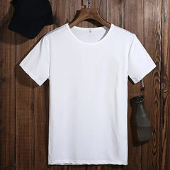 Spring and summer men`s t - shirt round seamless short-sleeved clothes European and American men`s p white m