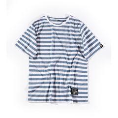 Spring and summer 2018 men`s men`s wear T-shirt loose round collar short sleeve striped base shirt c Take the blue m