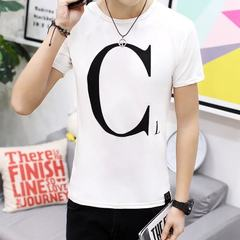 Summer 2017 men`s short-sleeved t shirt v-neck Korean version of round letters on black clothes men` white XXL
