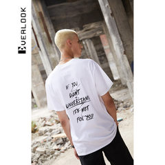 EL menswear men`s style 2018 new short-sleeved T-shirt fashionable men`s letters printed harbor styl white S/165 (larger than one yard)
