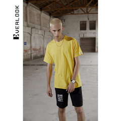 EL men`s clothing 2018 new style T - shirt men`s pure cotton minimalism youth men`s fashion brand ha yellow S/165 (larger than one yard)