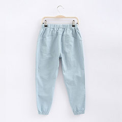 Children`s mosquito repellent trousers thin summer suit baby cotton pajamas men`s and girls` pants l The light blue 100 cm