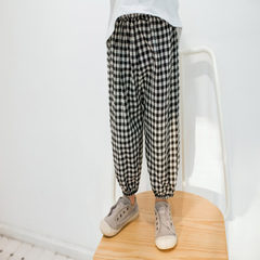 GDKIDS2018 spring/summer new style children checked cotton flax trousers for boys and girls and baby Black and white case 80 cm