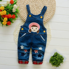2018 new baby boys and girls children`s suspenders denim jumpsuits children`s trousers wholesale a h New style single pants five star beauty 80-110/ 4 yards per hand, 1-4