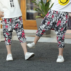 2018 children`s harem pants style Korean version of children`s trousers cotton mian boys and girls 7 The rice flag harlan 90 yards (80-90cm)