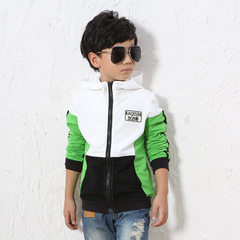 Spring Korean version of the new children`s jacket in the big children`s pure cotton sports cap zipp Green + black 110 cm