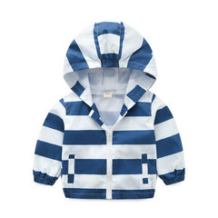 Boys` coat 2018 new spring and autumn baby leisure jacket 1-3 - year - old fashion children`s stripe Blue and white stripes 90 cm